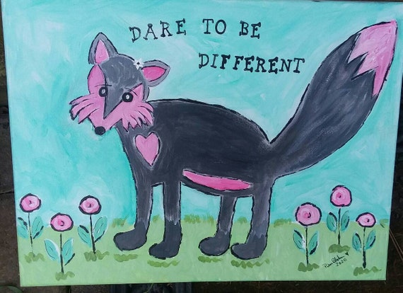 """Wall Art """"Dare to be Different"""" /Original acrylic Painting  12x16 / Teen , Child , Nursery decor/home or office decor"""