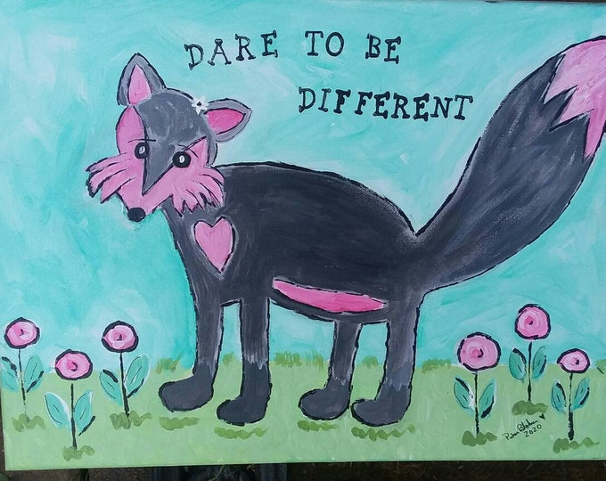 """Whimsical FOX """"Dare to be Different"""" -12 x16 Original Acrylic Painting  - Teen Wall art  -LBGT Unique"""