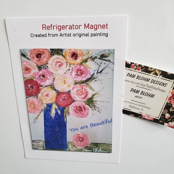 "Art MAGNET ""You are Beautiful"" , Small art flowers  / Pink Rhinestone Bling Added / Friend Gift idea / Floral small art"