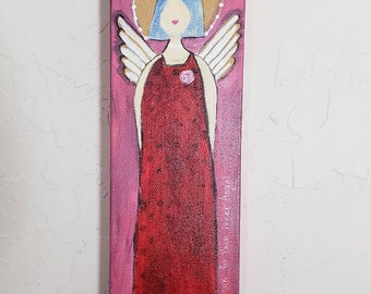 """Angel art """"Look for your inner angel"""" - Original acrylic painting- 4×12 deep wrapped canvas-"""