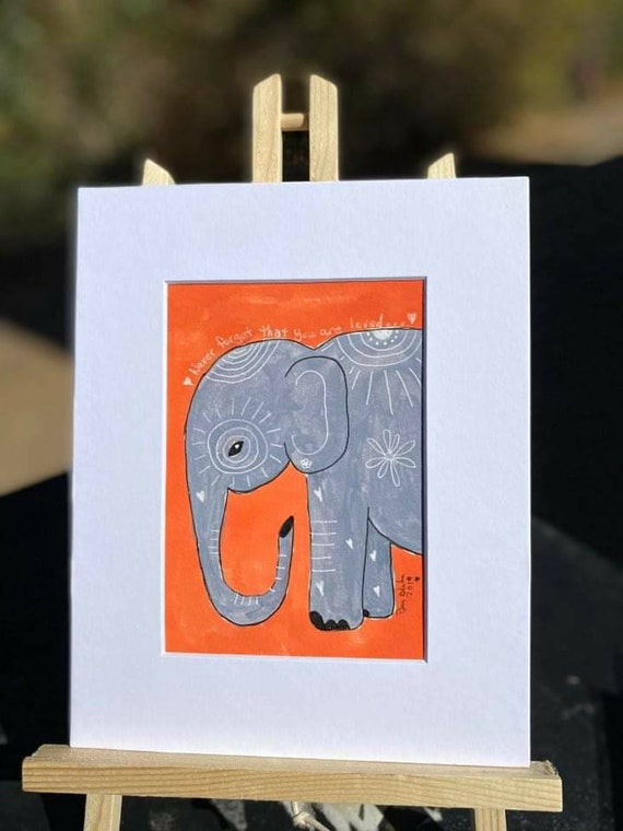 "Elephant  watercolor original. "" Never forget how much you are loved "" orange elephant art/  8x10 /Nursery decor/ Wall art/home decor"