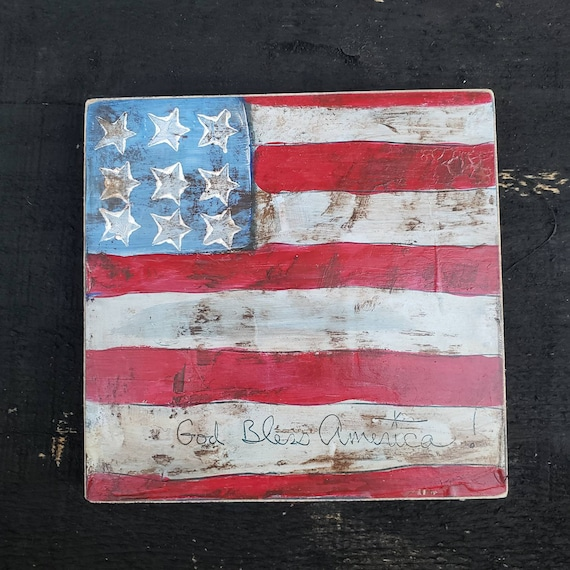 "Rustic ""Stars & Stripes"" acrylic art on upcycled wood /6x6 Farmhouse Decor / Americana God Bless America"