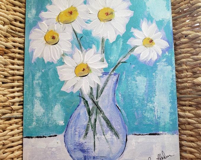 "WHIMSICAL ""White Daisies"" - 8x10 original acrylic painting - Flat Canvas Panel - DAISY flower vase - Blue Decor Wall art"