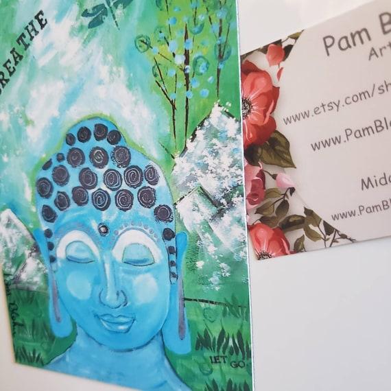 "Art MAGNET ""Meditation"" Buddha small art from artist original painting / ZEN  Kitchen & Office Decor/ Made in the USA /Breathe/ Yoga/ Let Go"