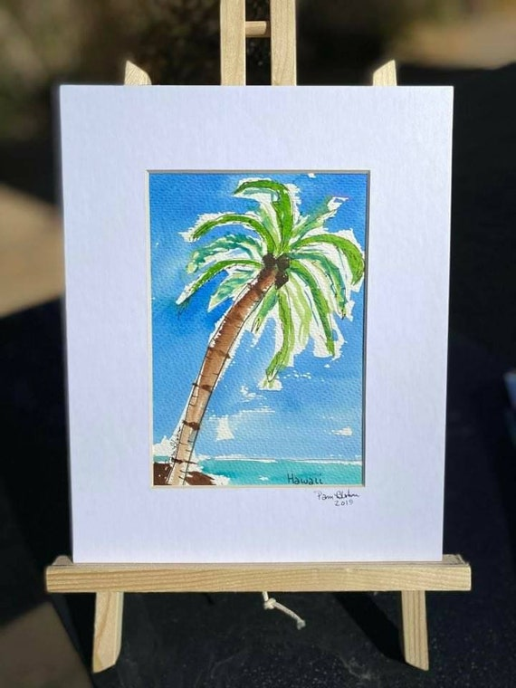 "8x10 matted painting.  Original Watercolor and ink. "" Island Paradise "" palm tree/ Beach art/ tropical painting /ocean art"