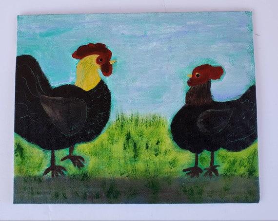 "Original acrylic painting ""Barnyard Chickens"" / Folkart Chicken art / 8x10 Canvas Panel kitchen wall decor"