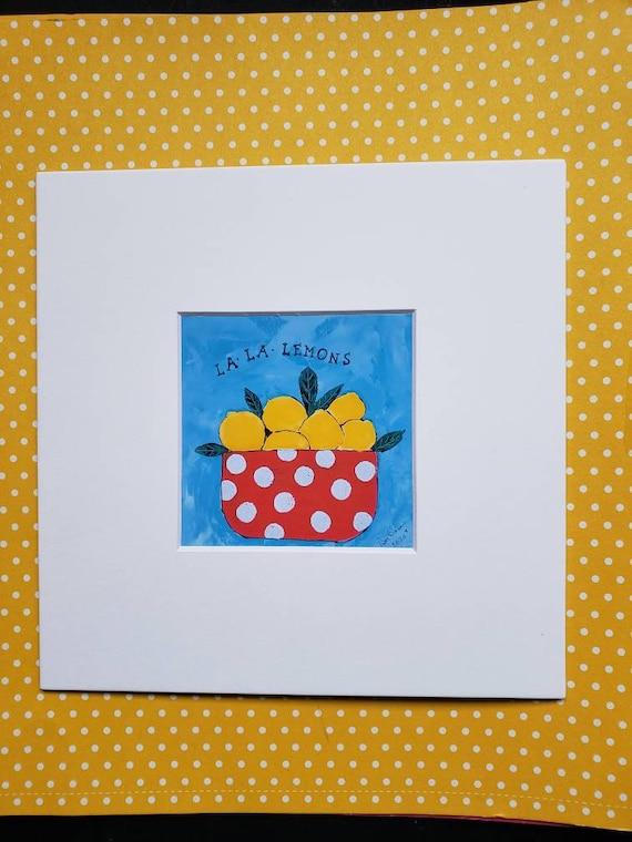 "Artist Print ""La la Lemons "" fruit bowl artwork /matted print of original painting / 4x4 Print matted to 8x8/ Wall art/ Home Decor"