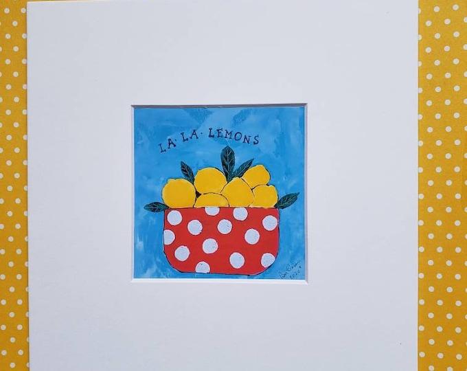 "Fine Art ""La la Lemons"" square  PRINT -fruit bowl artwork -matted print of Pam Blohm  painting - 4x4 Print matted to 8x8"