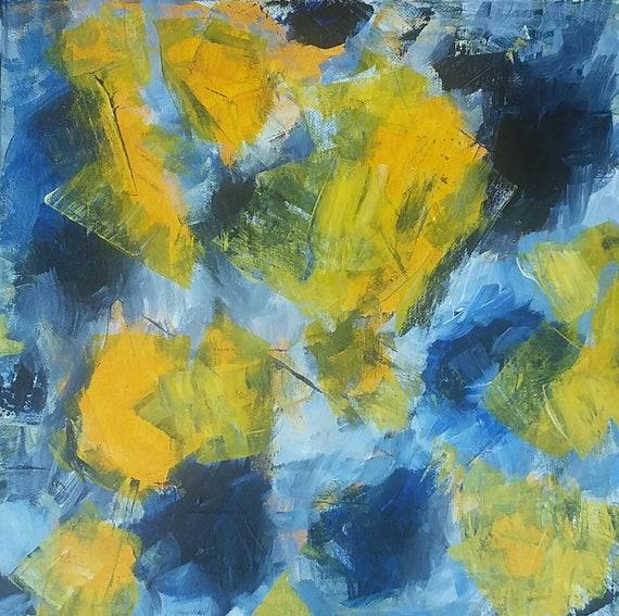 "Abstract Acrylic  ""Day & Night "" Original Painting/ 12x12 Wall art /home decor / masculine art"