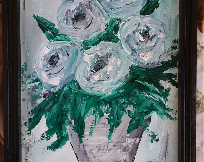 """FRAMED Original Abstract Acrylic Painting """"Shades of Blue"""" Floral - 9x12 Wall Art Home Decor"""
