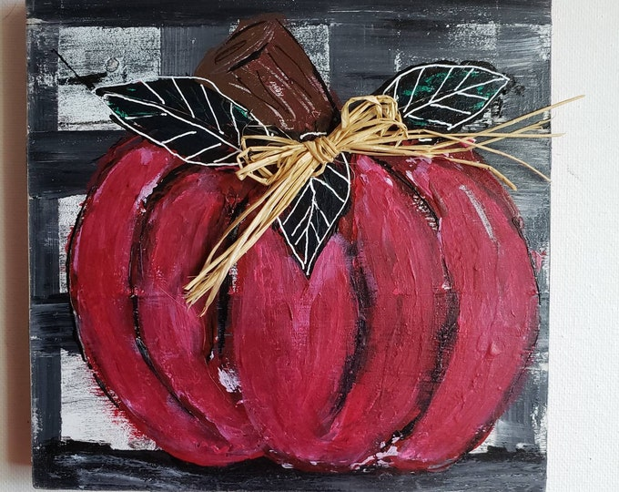 Pumpkin original acrylic painting- 6x6  Birchwood Canvas -Shelf /Mantle decor -Autumn  holiday decor