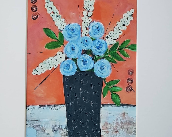 """Vase of """"BLUE Flowers"""" artist PRINT- White Matted to 8x10 frame size"""