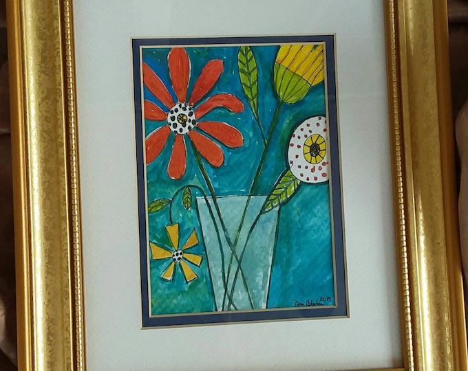 """Original Watercolor &  ink  """"Clancy""""  abstract Floral - 8x10 Gold Framed Matted artwork - Abstract Flower art"""
