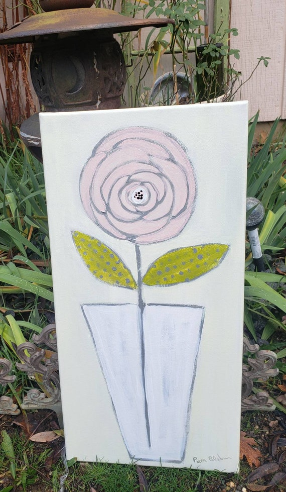 "Original acrylic painting ""The Rose"" / 10x20 pastel flower art /Pink wall decor /floral artwork by Pam Blohm"