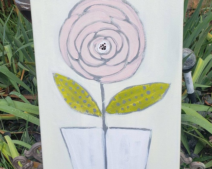 "Original acrylic painting - Pink Flower art ""The Rose"" - 10x20 pastel flower art -Pink wall decor --Soft Pastel art -Flower in a Vase"