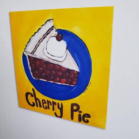 """Artist MAGNET /Cherry Pie Dessert 3.50"""" x 3.50"""" Kitchen or office decor/ Made in the USA / pie lover gift idea"""