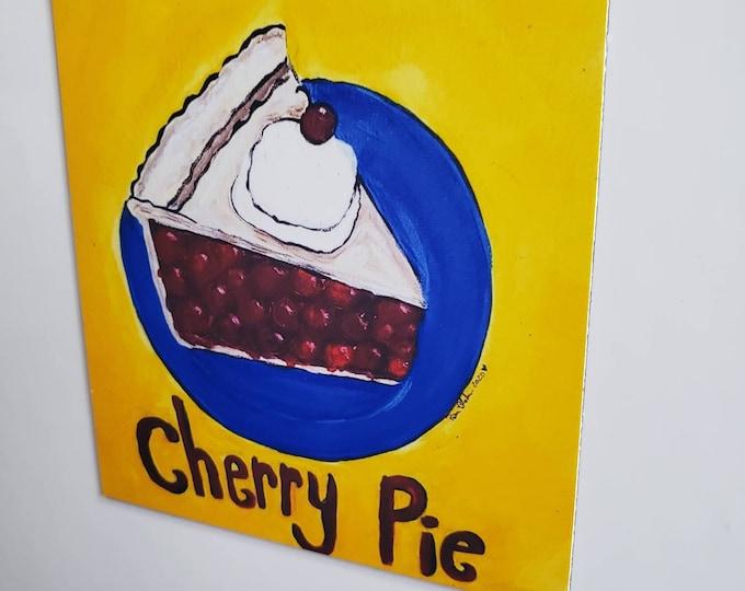 """Artist MAGNET -Cherry Pie Dessert 3.50"""" x 3.50"""" Kitchen or office decor- Made in the USA - pie lover gift idea"""