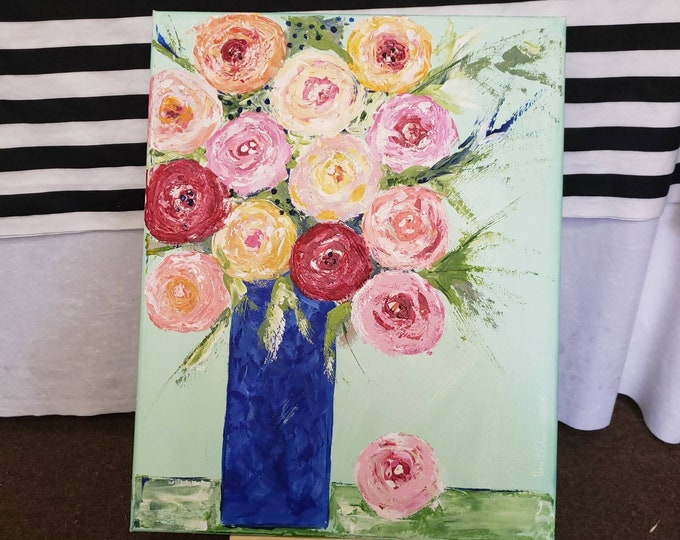 """Original  """"Color-Full Bouquet """"  Abstract Flowers Acrylic Painting - 16x20 Flower Bouquet - Vase of flowers Gift idea- Floral  Wall art"""