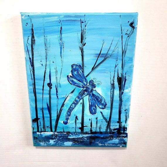 """Original acrylic painting """"Blue Dragonfly"""". 9 x 12 canvas artwork / insect art"""