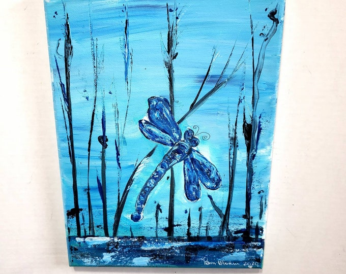 """Original acrylic painting """"Blue Dragonfly"""" - 9 x 12 canvas artwork - Nature Wall Hanging"""
