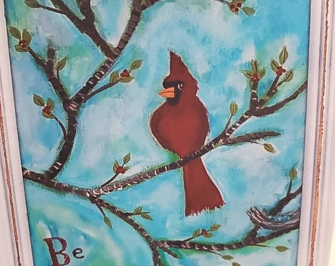 """Artist MAGNET """"Be Still""""  Red Carnation  Bird - 3.5"""" x 4.25"""" flexible and strong hold - gift idea -made in USA"""