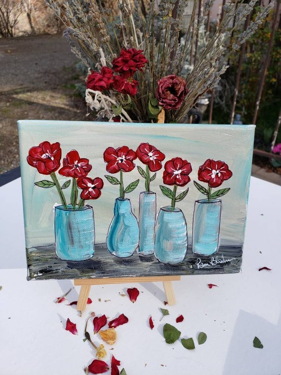 "Original acrylic painting ""Standing Tall"" Flowers in vases home decor /5x7 Floral artwork"
