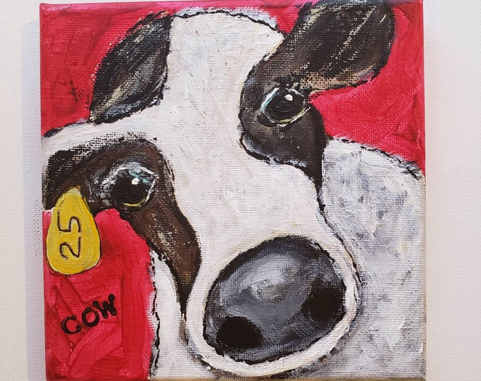 """6x6    """"Cow #25 """"  Original Acrylic  Painting - Farmhouse artwork-Cow small art- Black and White Cow"""