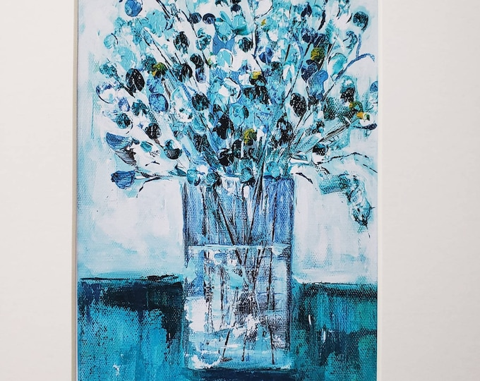 Vase of Teal Twigs artist PRINT-white matted to 8x10 frame size