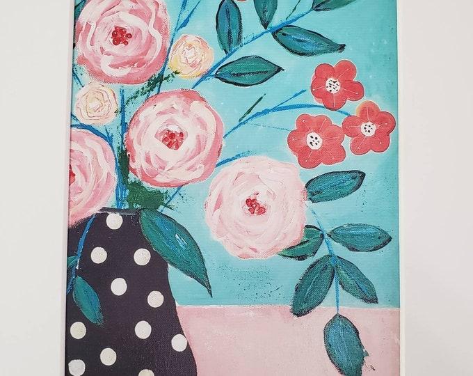 Artist Print Matted to 8x10 Frame size- Floral Wall art - Polka Dot Vase- BOHO Minimalist art