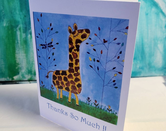 """Whimsical Giraffe """" Thank  So Much"""" artist Note Cards -set of 5 includes self adhesive envelopes"""