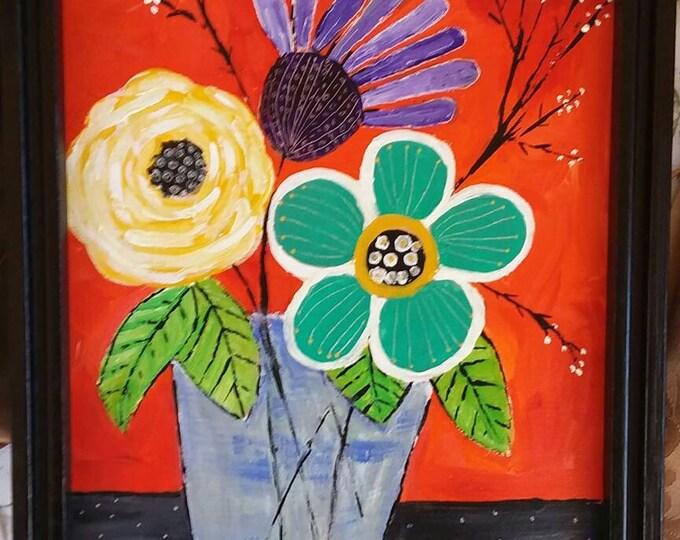 "Bold Abstract  Flowers  ""Wild & Free"" - 9x12  Framed   Acrylic painting - Flowers home decor- Nursery Wall  Art-Bedroom Decor-Home Art"
