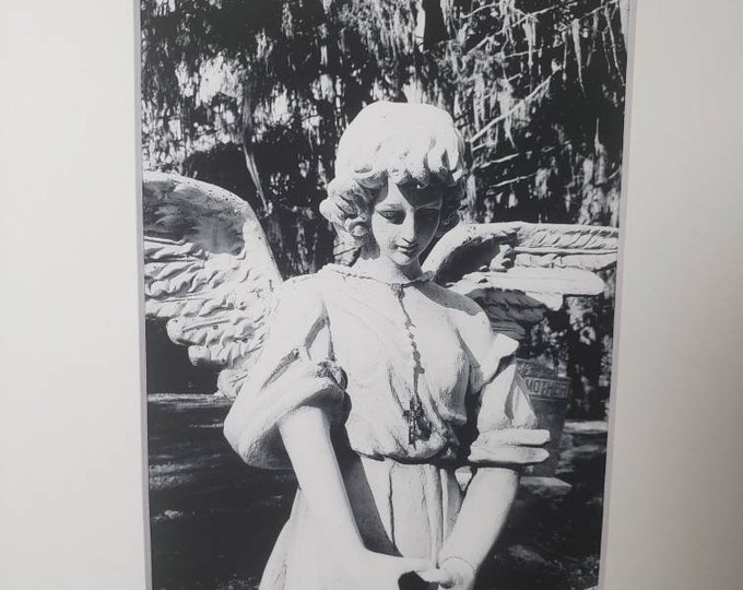 """Black & White """" ANGEL"""" -Cemetery Photograph Print  - 5x7  White Matted to 8x10 frame size -Angel Wall art- home Decor -Faith Photography"""