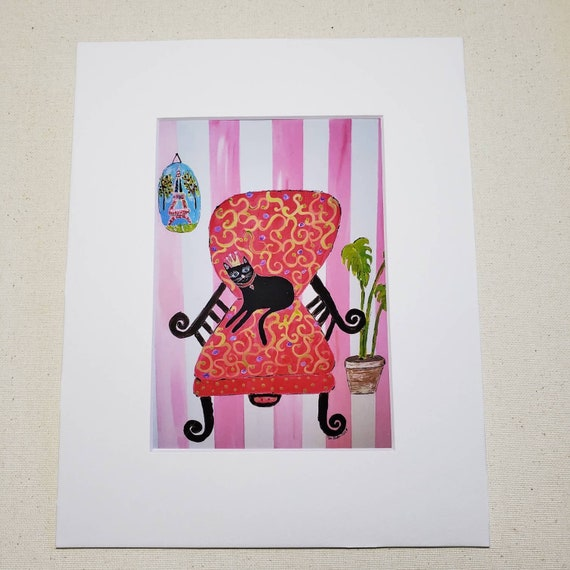 "Artist PRINT "" Cat in a Chair"" / 8x10 Paris themed art from artist original painting"