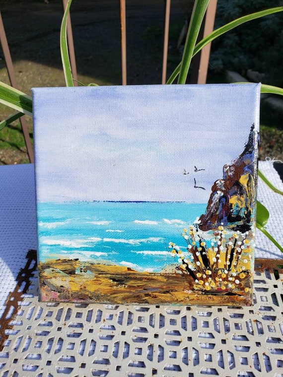 "Original ""A day at the end Beach "" Impressionist Ocean acrylic painting/6x6 canvas"
