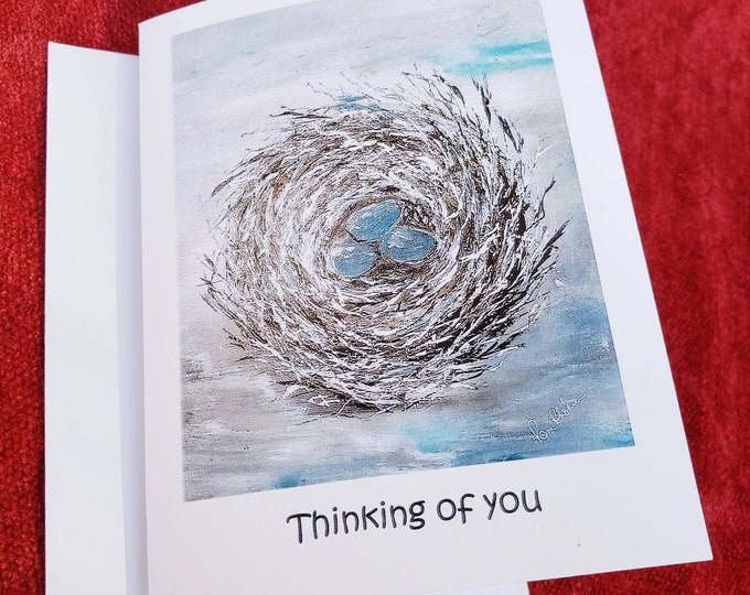 """Blank Note card gift set / """" Thinking of you"""" / Nest  print from artist original painting - Set of 5 cards & self adhesive envelopes"""