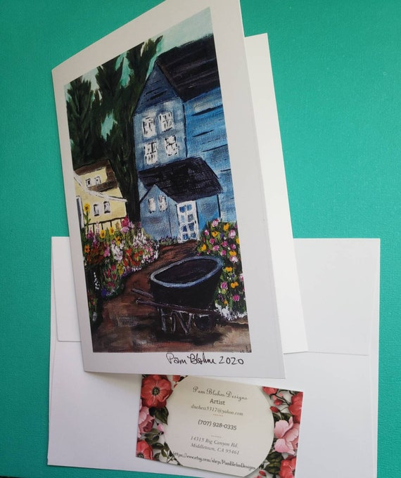 """Artist Greeting Card """" Country Cottage"""" / 5x7 card and envelope / quality printed from Artist Pam Blohm original painting"""