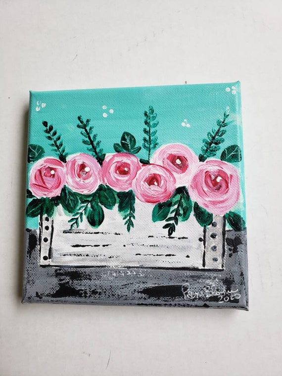 """Pretty small art """"The Pink Flowers Box""""  Swirl Roses /6x6 """" home decor /Original acrylic painting /Pink Flowers"""