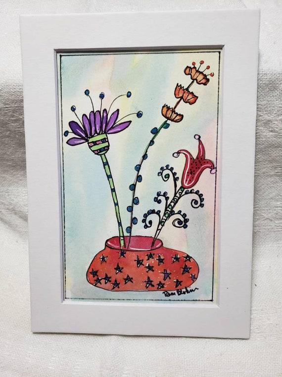 "Original watercolor & ink floral artwork "" Garden fun"" / 5x7 Matted flower painting / Whimsical Art"