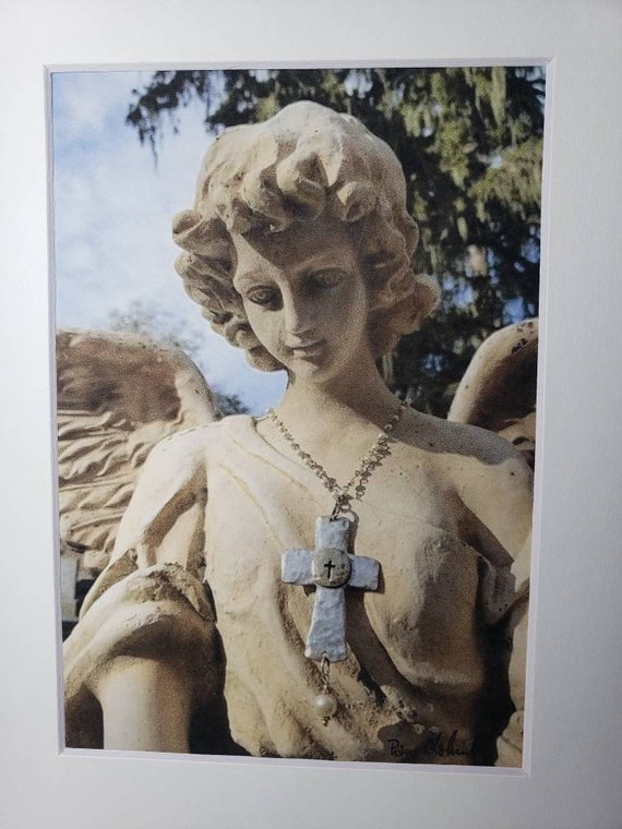 """Cemetery Art / Matted """"Angel with Jewelry"""" Photography /White matted to 8x10"""