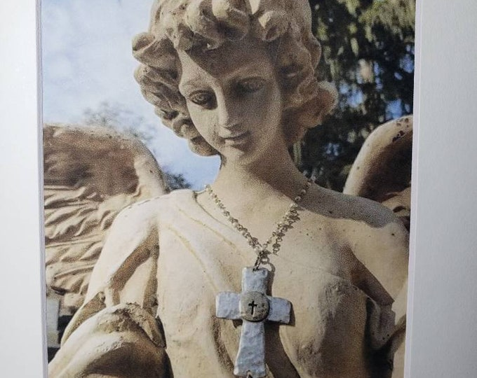 """Cemetery Art - Matted """"Angel with Jewelry"""" Photography Print  -5x7 White matted to 8x10 -Angel Wall Art- Faith Home Decor - Gift Idea"""