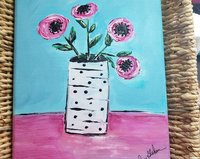 "Abstract ""Fantasy Flowers "" original acrylic painting- 8x10  Canvas Wallart - Nursery Decor- Vase of PINK Flowers - Pink & Teal Decor Idea"