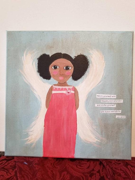 "Folk art ""Angel in Pink"" / Job 40:10 Bible Verse /Original Acrylic Painting/12×12 Wall art / Dark Skin Angel"