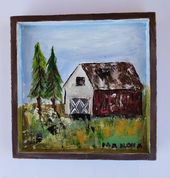 "Original acrylic Painting "" Old Red Barn"" / Framed 9x9"" wall art /Farmhouse home decor / country artwork."