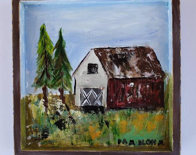 "Original acrylic Painting "" Old Red Barn"" - Framed 9x9"" wall art -Farmhouse home decor - country artwork"