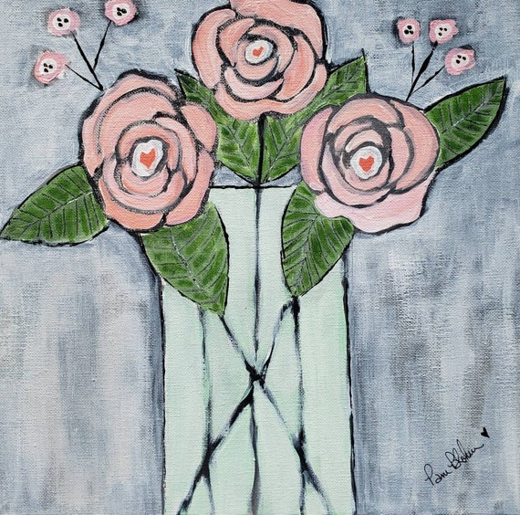 "Original acrylic painting ""Fresh Cut Roses"" /12x12 canvas wall art /home or office decor / peach & mint flower painting Nursery Wall art"