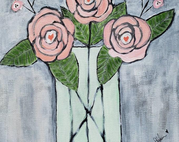 "Original  ""Hearts and Roses"" -12x12 acrylic painting - canvas wall art -  Nursery Wall art- Designer Home Decor -Vase of Peach Flowers Art"
