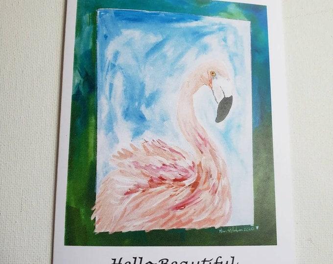 HELLO BEAUTIFUL Flamingo- 5 piece notecard set