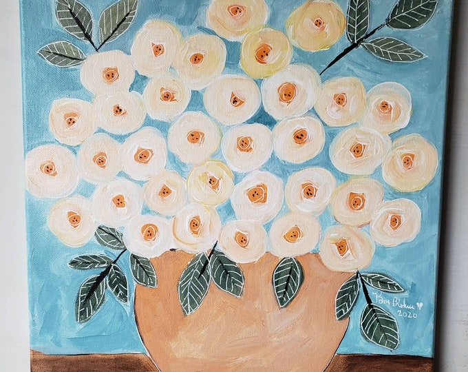 "Rose Bouquet ""Fresh Flowers"" -12x12 original acrylic painting-home or office wall art -Nursery Wall hanging -Flower art"