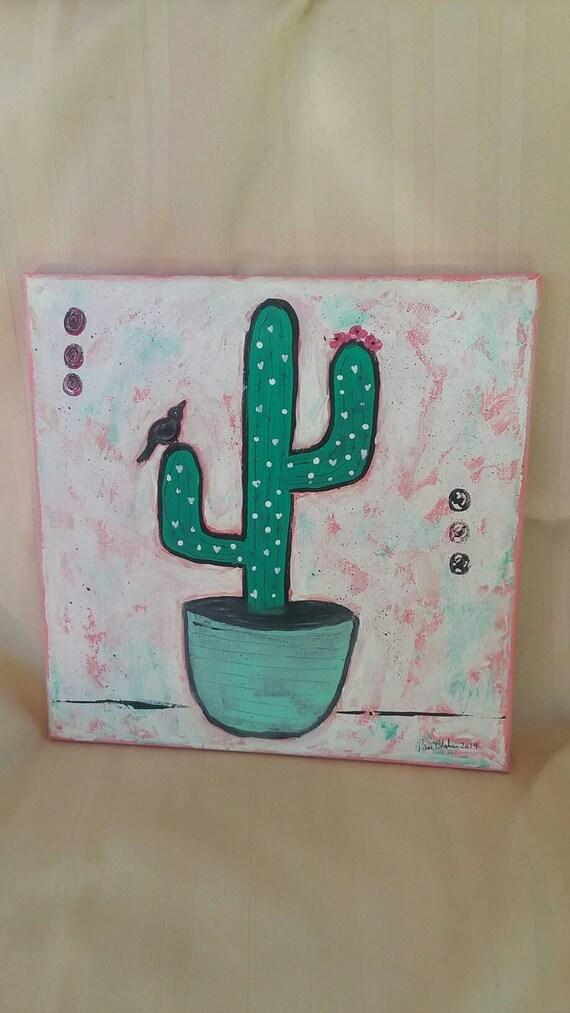 "The ""Cactus Bird"" is a original abstract home accent painting. 12x12 acrylic wall art/kitchen decor/bedroom art/bathroom decor/desert art."