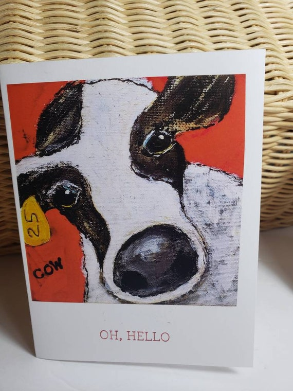 """Artist Note Card set """"Cow 25""""/ gift set of 5 blank note cards with self adhesive envelopes included"""